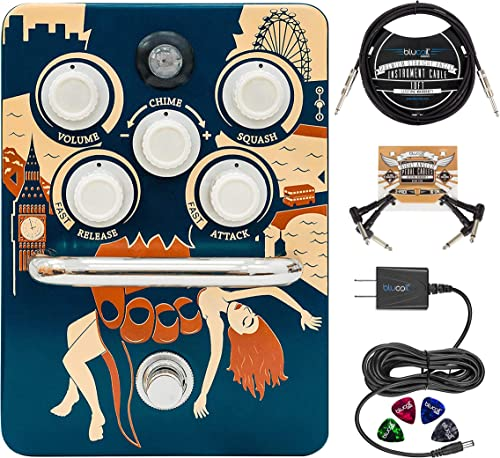 """lowest Orange Kongpressor wholesale Analogue Class A Compression Guitar Effects Pedal Bundle with online sale Blucoil Slim 9V Power Supply AC Adapter, 10' Straight Instrument Cable (1/4""""), 2x Patch Cables, and 4x Guitar Picks outlet online sale"""