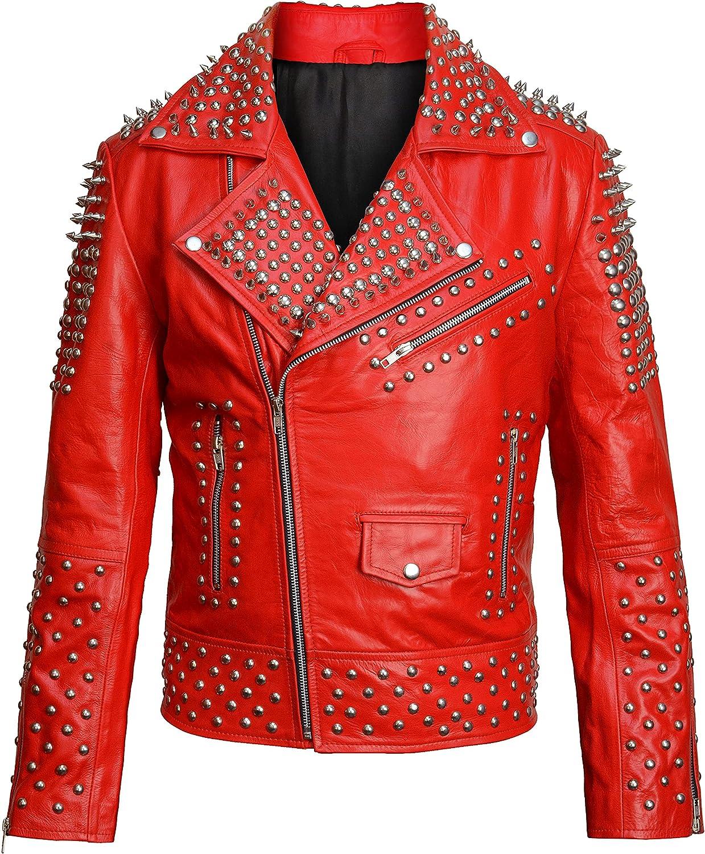 Mens Punk Brando Motorcycle Leather Jacket Rock World Studded Red Biker Outerwear