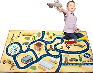 """2019 Kids Rug Area Play Mat Car Carpet with Road 4'11"""" X 2'7"""" Intelligence Development Desert Military Game Theme--(HD) with Non-Slip Backing Non Toxic for Playroom Bedroom Classroom Educational"""