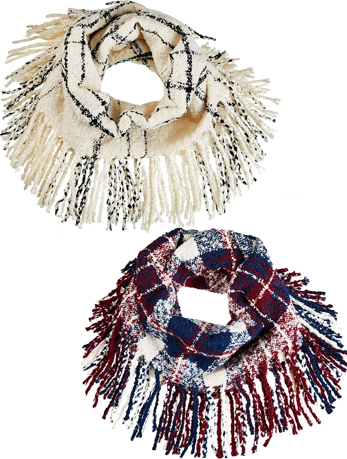2 Pieces Ladies Winter Plaid Infinity Scarf Warm Fringed Knitted Scarf Shawl Plaid Tassel Winter Scarves for Women