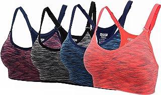 ohlyah Women's Adjustable Padded Sports Bra Racerback Yoga Bras Pack