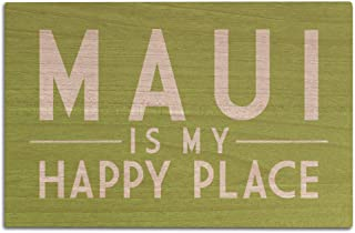 Lantern Press Maui is My Happy Place - Simply Said (12x18 Wood Wall Sign, Wall Decor Ready to Hang)