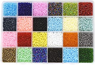 Mandala Crafts Glass Seed Beads, Small Pony Beads Assorted Kit with Organizer Box for Jewelry Making, Beading, Crafting (Round 3X2mm 8/0, 24 Assorted Multicolor Set)