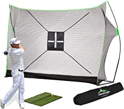 10 x 7ft Golf Net Bundle - Professional Patent Pending Design - Dual-Turf Golf Mat (select 4pc), Chipping Target & Carry Bag-The Right Choice of Golf Nets for Backyard Driving & Golf Hitting Nets