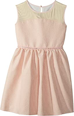 Us Angels - Brocade and Mesh Illusion Neckline Dress (Big Kids)