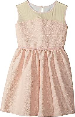 Brocade and Mesh Illusion Neckline Dress (Big Kids)