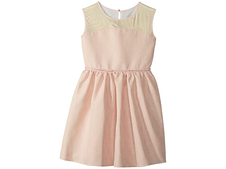 Us Angels Brocade and Mesh Illusion Neckline Dress (Big Kids) (Pink) Girl