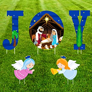 Abpicky Christmas Decorations Joy Nativity Yard Signs - Xmas Outdoor Lawn Religious Scenes Decor(Assembly Needed)