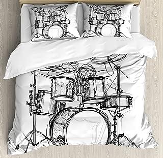 Ambesonne Rock Music Duvet Cover Set, Doodle Drawing Sketch Style Drummer Musical Inspirations Monochrome Arrangement, Decorative 3 Piece Bedding Set with 2 Pillow Shams, Queen Size, White Black