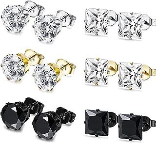 6 Pairs Stainless Steel Stud Earrings for Men Women CZ Earrings,3-8MM