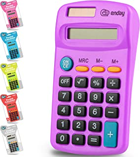 Calculator Purple, Basic Small Solar and Battery Operated, Large Display Four Function, Auto Powered Handheld Calculator S...