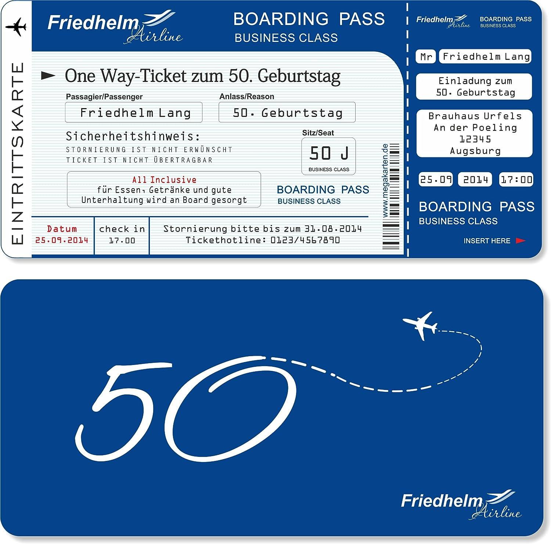 Einladungskarten Einladungskarten Einladungskarten zum Geburtstag als Flugticket mit Abriss-Coupon Blau 50 Stück B00RJGN4M4   Reparieren  113927
