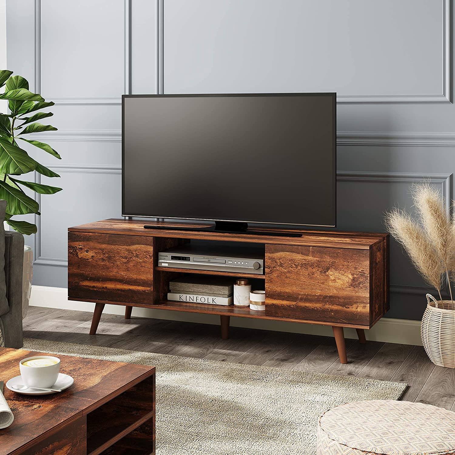 WLIVE Mid-Century Modern TV Stand for 55/60 inch TV, Media Console, Entertainment Center with Storage Cabinet for Living Room, Rustic Brown: Furniture & Decor