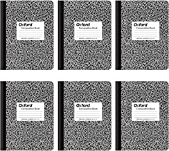 Oxford Composition Notebooks, Wide Ruled Paper, 9-3/4 x 7-1/2 Inches, 100 Sheets, Black, 6 Pack (63764)