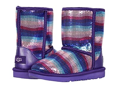 UGG Kids Classic II Sequin Rainbow (Little Kid/Big Kid) (Violet Rainbow) Girl