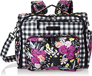 JuJuBe B.F.F Multi-Functional Convertible Diaper Backpack/Messenger Bag, Onyx Collection - Gingham Bloom