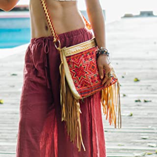 Changnoi Boho Woman's Fringe Sling Bag with Unique Vintage Hmong Embroidered in Orange, Handcrafted Bohemian Crossbody Purse