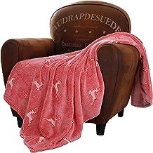 SOCHOW Glow in The Dark Throw Blanket 50 x 60 Inches, Reindeer and Snowflakes Pattern Flannel Fleece Blanket, All Seasons ...