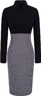 HOMEYEE Women's Voguish Houndstooth Long Sleeve Career Pencil Dress B31