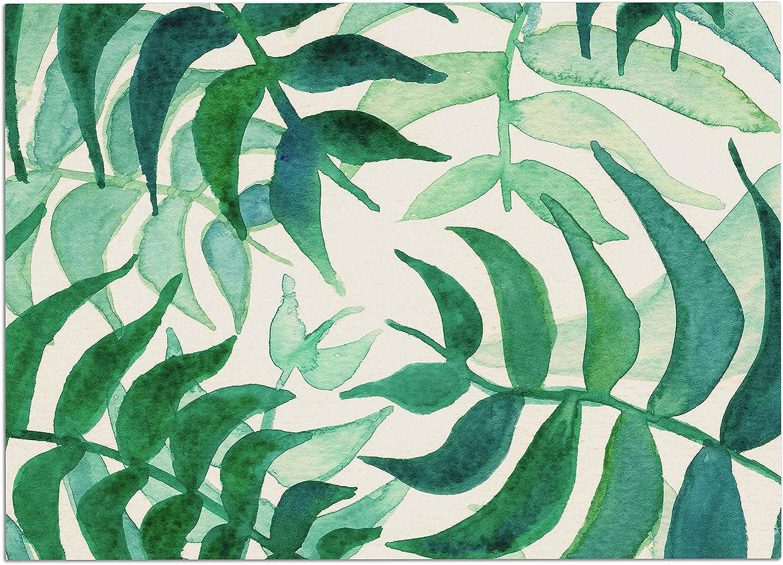 KESS InHouse Viviana Gonzalez Botanical Vibes Green Beige Watercolor Dog Place Mat, 24  x 15