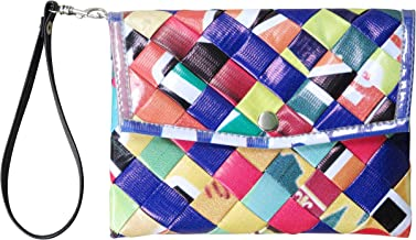 Small snap wristlet using woven banners - FREE SHIPPING - upcycled eco friendly vegan recycled reclaimed salvaged handmade unique purse gift purse wallet billboard street banner freitag vaho