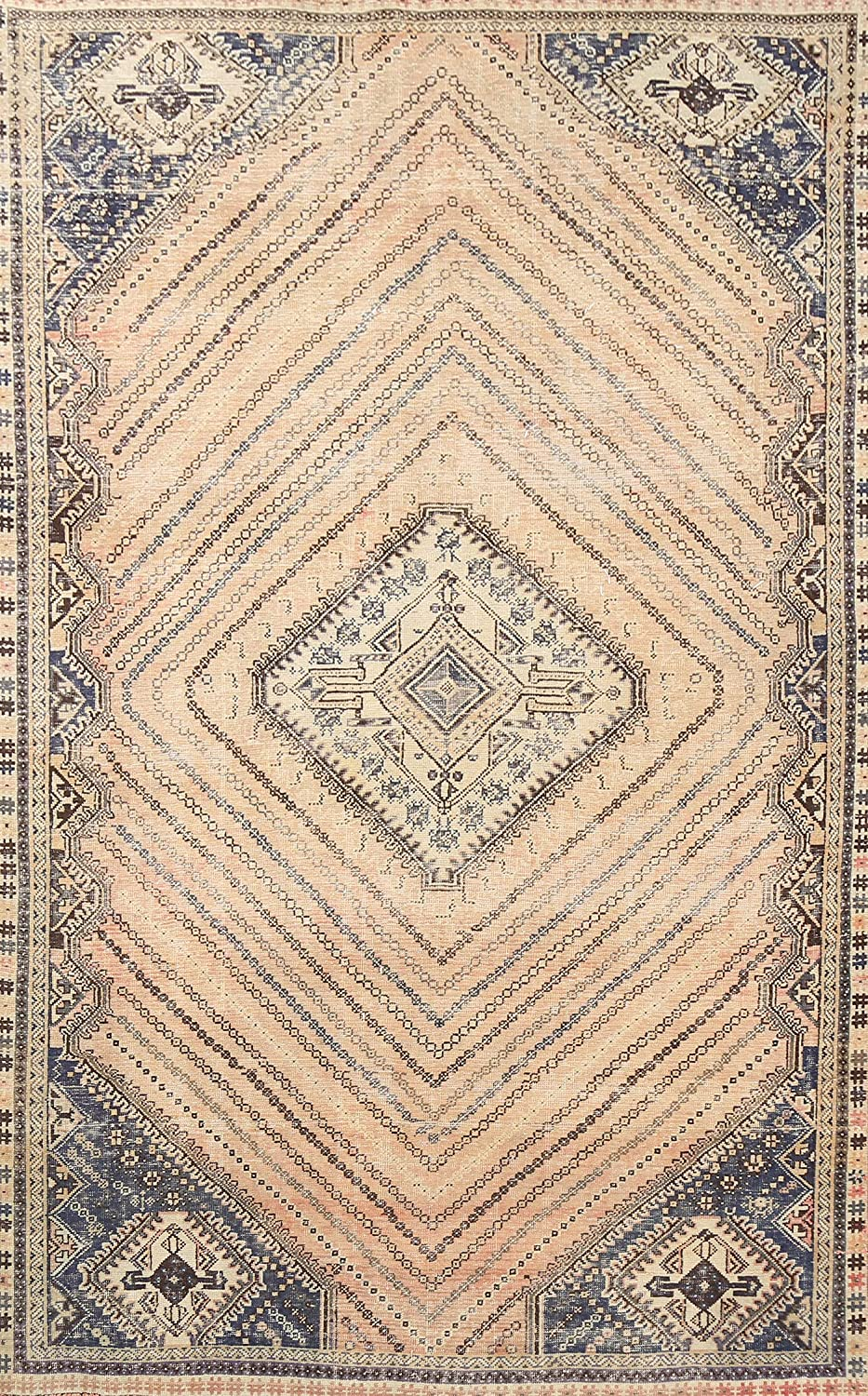 Antique Peach Challenge the lowest price Geometric Oriental Shiiraz Wool High quality new Hand-Knot Area Rug