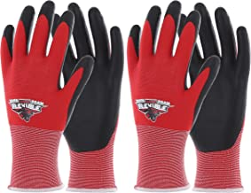 COOLJOB 2 Pairs Safety Work Gloves for Men, Garden Work Gloves with Grip, Silicone Free for Auto Work Gloves, High Visible Red, Small Size