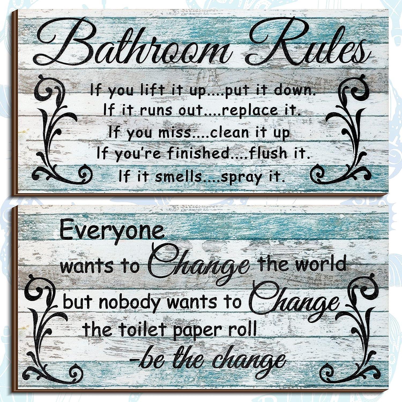 2 Pieces Funny Bathroom Signs Ocean Theme Beach Bathroom Decors Bathroom Rules Sign Plaque Wooden Funny Bathroom Decor Sign Guest Hanging Wall Art Decorative Signs Rustic Wall Art Bathroom Decoration