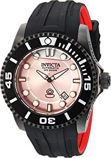 Men's Pro Diver Stainless Steel Automatic-self-Wind Diving Watch with Silicone Strap, Black, 25 (Model: 22995)