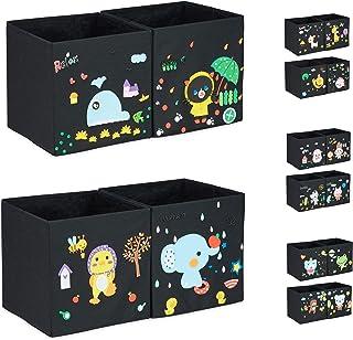 Relaxdays Boîtes de rangement enfants, Lot de 4, Autocollant mousse, orner panier à jouets, design C, 31x31x31cm, coloré