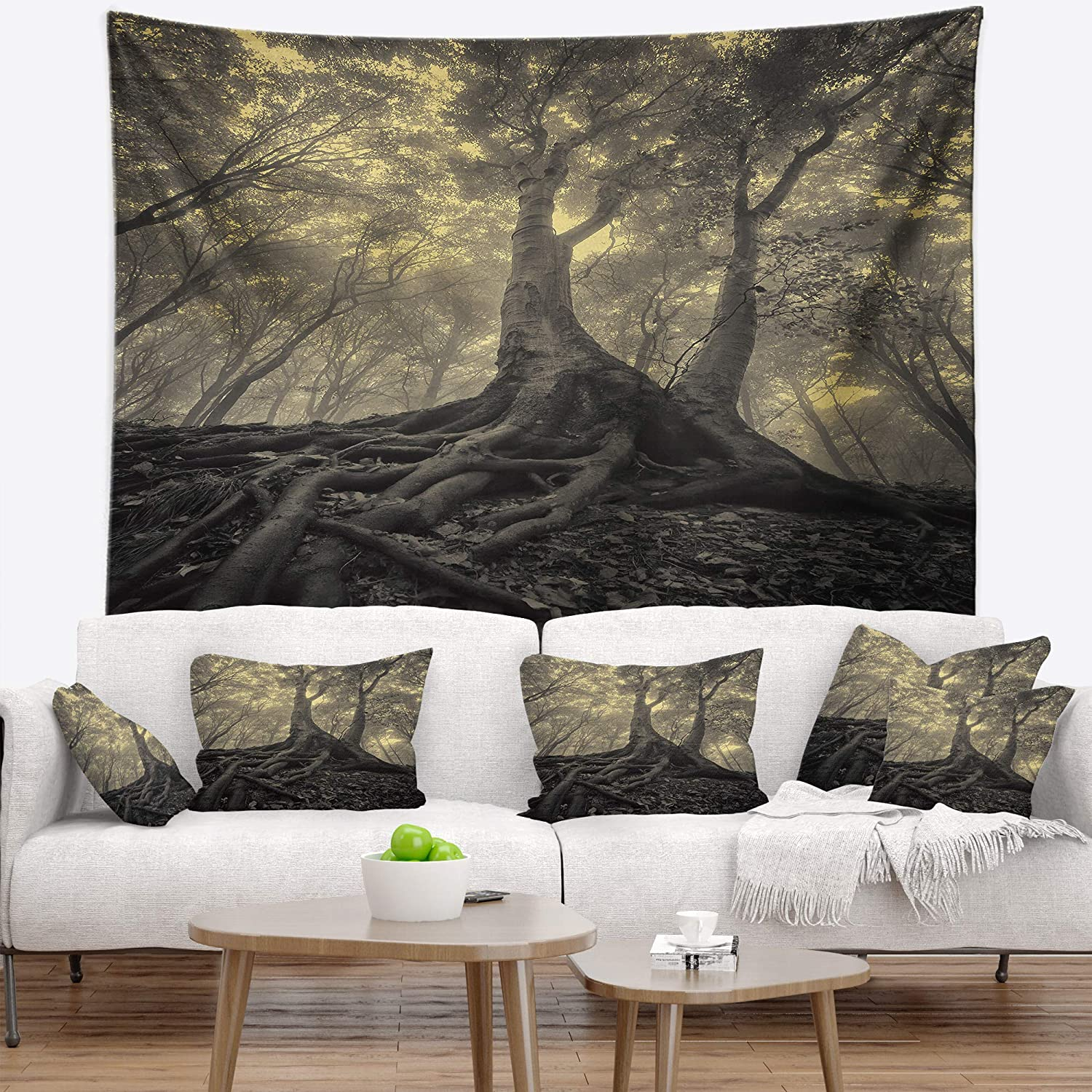 Designart TAP9760-32-39 'Tree with Big Roots on Halloween' Landscape Photography Tapestry Blanket Décor Wall Art for Home and Office, Medium  32 in. x 39 in. , Created on Lightweight Polyester Fabric