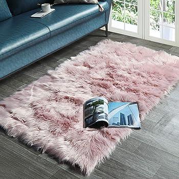 New Pink Faux Fur Rug Large Super size eco pelt STUNNING Fluffy Fur