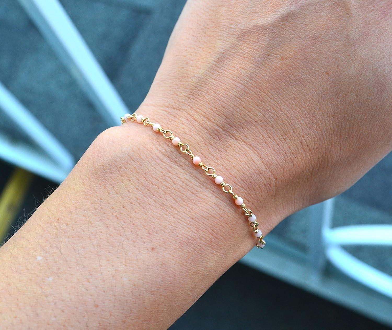 Light Max 40% OFF Pink Coral Gemstone Gold Filled Fresno Mall Bracelet Beaded