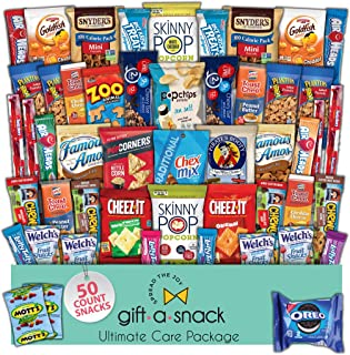 Snack Box Variety Pack (50 Count) Fathers Day Gift Basket for Dad - College Student Care Package, Prime Food Arrangement, ...