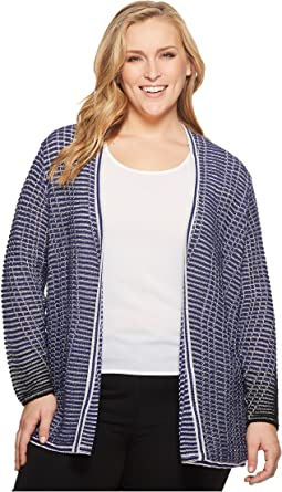 NIC+ZOE - Plus Size Striped Space Cardy