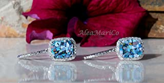 14kt Opal and Diamond Earrings, 2.20ctw Mosaic Opal and Diamond Earrings, One-of-a-kind, 14kt White Gold