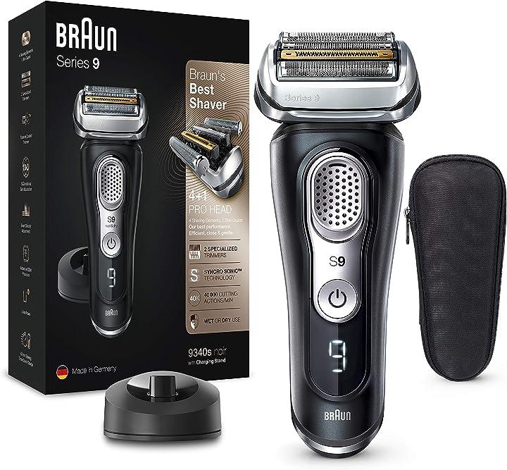 Rasoio elettrico barba a lamina, ricaricabile e senza fili, nero, Braun serie 9 9340s 4210201199793