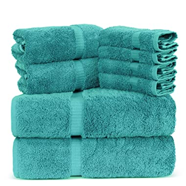 Towel Bazaar Luxury Hotel and Spa Quality Dobby Border 100% Turkish Cotton Eco-Friendly and Highly Absorbent Towel Set (Set of 8, Aqua Blue)