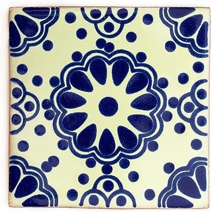 10,5 cm Carrelage en c/éramique mexicaine fait /à la main et /éthiquement n/égoci/é par Tumia LAC 1 m/ètre carr/é Lot de 90