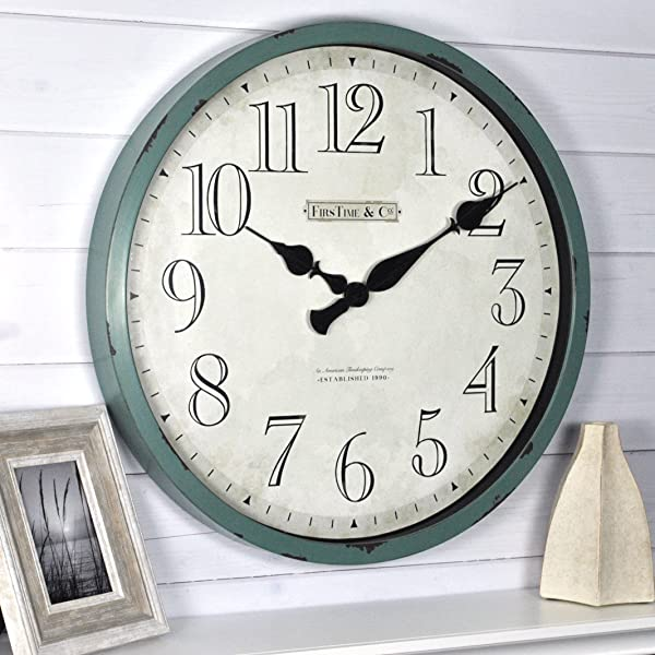 FirsTime Co 10065 Bellamy Wall Clock 24 Aged Teal