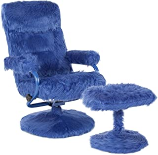 My Friendly Office MFO Delilah Collection Contemporary Multi-Position Recliner and Ottoman in Navy Fur