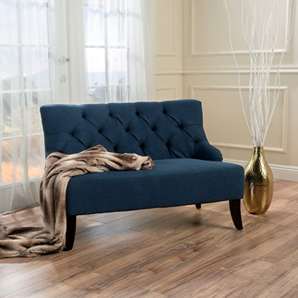 Nicoletta Contemporary Tufted Fabric Settee Dark Blue And Dark Brown
