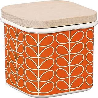 Enamel Storage Jar in Persimmon | Linear Stem Design