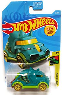Hot Wheels 2019 Dino Riders Tricera-Truck (Triceratops Car) 12/250, Aqua Blue and Neon Green