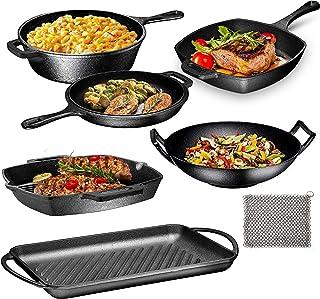 Pre Seasoned Cast Iron 7 Piece Bundle Gift Set, Multi Cooker, Rectangular grill Pan, Wok, Skillet, Square Grill Pan & Chai...