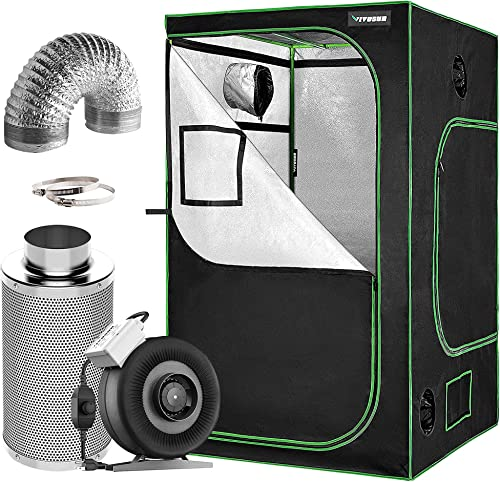 """wholesale VIVOSUN 48""""x48""""x80"""" Mylar Hydroponic outlet online sale Grow Tent with 4 Inch 2021 203 CFM Inline Fan Filter and Ducting Combo online"""