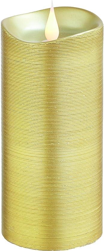 定説庭園文化エンキンドル 3D LEDキャンドル ラインピラー 直径7.6cm×高さ18.5cm ゴールド