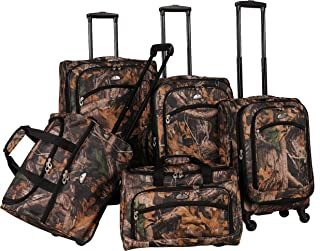 American Flyer Camo 5-Piece Spinner Luggage Set, Green, One Size