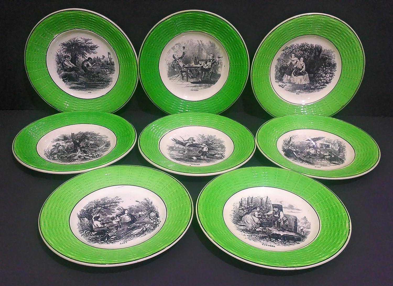 Sarreguemines Digoin Green Black Trimmed In a popularity Se Max 44% OFF Bread Butter Plate