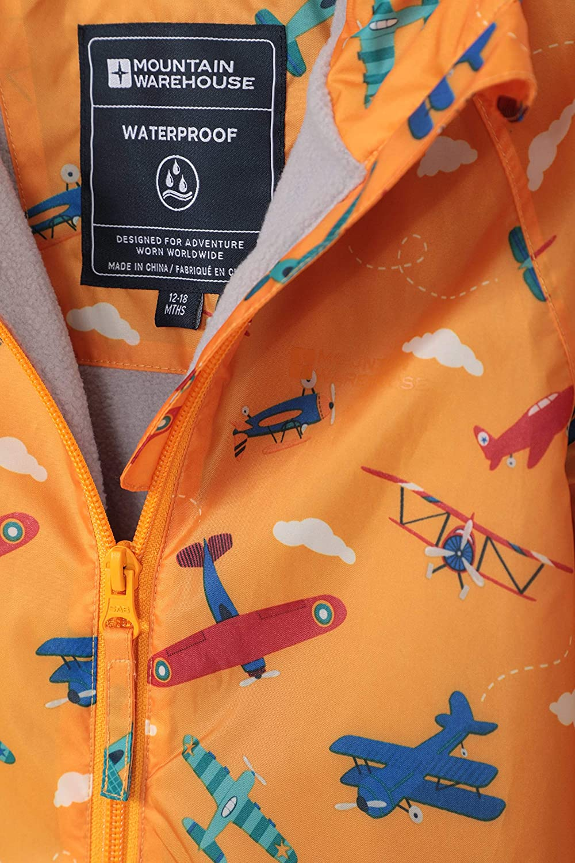 versiegelte N/ähte Anzug Atmungsaktiv Wasserfest Fleecefutter Fr/ühling Mountain Warehouse Spright Bedruckter Regenanzug Gef/üttert F/ür Jungen und M/ädchen